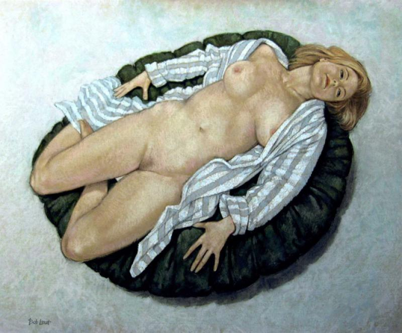 Liz in striped dressing gown 70x86cm